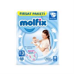 Molfix 3D Bebek Bezi Midi 3 Beden Fırsat Paketi 68 Adet