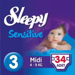 Sleepy Sensitive 3 numara Midi Pepee 34 adet (4-9 kg)
