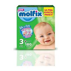 Molfix Comfort Fix 3 Beden Midi Ultra Avantaj Paketi 180 Adet Bebek Bezi