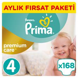 Prima Bebek Bezi Premium Care 4 Beden Maxi Aylık Fırsat Paketi 168 Adet