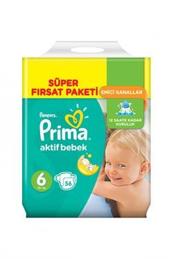 Prima Aktif Bebek 6 Beden Ekstra Large Süper Fırsat Paketi 56 Adet