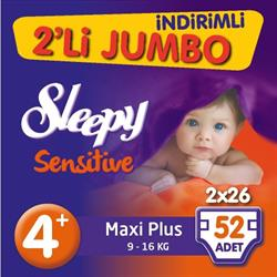 Sleepy Sensitive Pepee 4+ Beden Maxi Plus 52 Adet Bebek Bezi