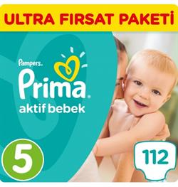 Prima Aktif Bebek 5 Beden Junior 112 Adet Bebek Bezi