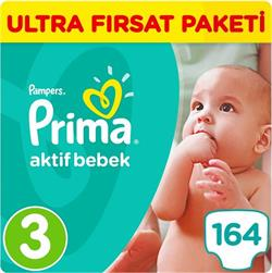 Prima Bebek Bezi Aktif Bebek 3 Beden Midi Ultra Fırsat Paketi 164
