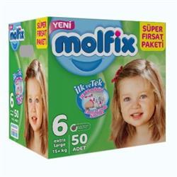 Molfix Bebek Bezi 6 Beden Extra Large Süper Fırsat Paketi 50 adet