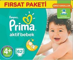 Prima Aktif Bebek 4+ Beden Maxi Plus 62 Adet Bebek Bezi