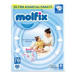 Molfix 3D 6 Numara Extra Large 86 Adet Ultra Avantaj Paketi Bebek Bezi