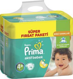 Prima Prima Aktif Bebek 4+ Beden Maxi Plus 78 Adet Bebek Bezi