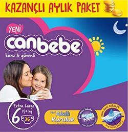 Canbebe Bebek Bezi 6 Beden Junior 15+ Kg 36'lı Aylık Paket