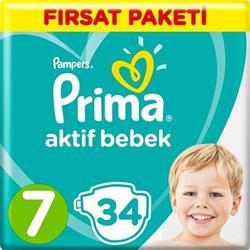 Prima Aktif Bebek 7 Numara XX Large 34 Adet Fırsat Paketi Bebek Bezi