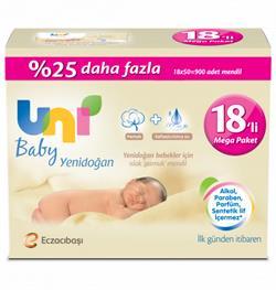 Uni Baby Yenidoğan 50 Yaprak 18'li Paket Islak Mendil