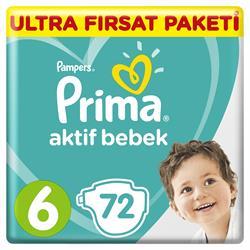 Prima Aktif Bebek 6 Numara Ekstra Large 72'li Ultra Fırsat Paketi Bebek Bezi