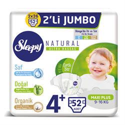 Sleepy Bebek Bezi Naturel Beden:4+ (9-16Kg) Maxi Plus 52 Adet Jumbo