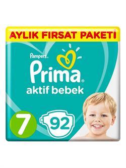 Prima Bebek Bezi Aktif Bebek 7 Beden 92 Adet Aylık Fırsat Paketi