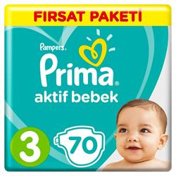 Prima Bebek Bezi Aktif 3 Beden Midi 70 Adet Fırsat Paketi