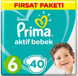 Prima Aktif Bebek 6 Numara Extra Large 40 Adet Fırsat Paketi Bebek Bezi
