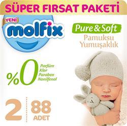 Molfix Pure & Soft 2 Numara Mini 88 Adet Süper Fırsat Paketi Bebek Bezi