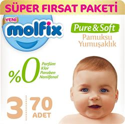 Molfix Pure & Soft 3 Numara Midi 70 Adet Süper Fırsat Paketi Bebek Bezi