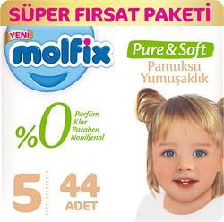 Molfix Pure & Soft 5 Numara Maxi 44 Adet Süper Fırsat Paketi Bebek Bezi