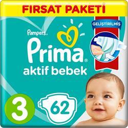 Prima Aktif Bebek 3 Beden Midi 62 Adet Bebek Bezi