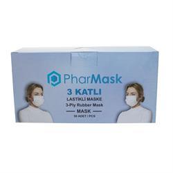 Pharmask 3 Katlı Ultrasonik Burun Telli Cerrahi Maske 50'li Paket