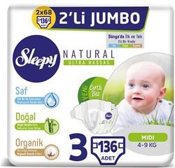 Sleepy Natural Bebek Bezi İkili Jumbo 3 Numara 136 Adet 4-9 Kg