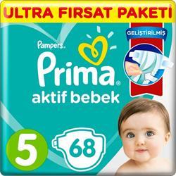 Prima Aktif Bebek 5 Numara Junior 68'li Ultra Fırsat Paketi Bebek Bezi