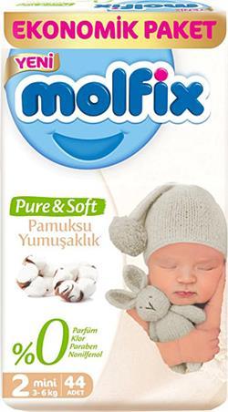 Molfix Pure&Soft 2 Numara Mini 44'lü Bebek Bezi