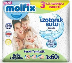 Molfix İzotonik Sulu Ferah Temizlik 60 Yaprak 3'lü Paket Islak Mendil