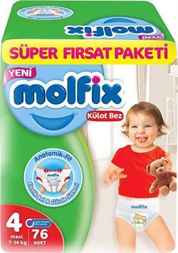 Molfix 4 Numara Maxi 76'lı Süper Fırsat Paketi Külot Bez