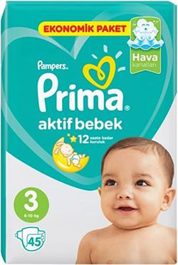Prima Aktif Bebek 3 Numara Midi 45'li Ekonomik Paket Bebek Bezi