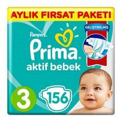 Prima Aktif Bebek 3 Numara 156'lı Midi Aylık Fırsat Paketi Bebek Bezi