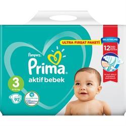 Prima Aktif Bebek 3 Numara Midi 92'li Ultra Fırsat Paketi Bebek Bezi