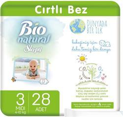 Sleepy Bio Natural 3 Numara Midi 28'li Bebek Bezi