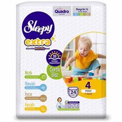 Sleepy Extra Günlük Aktivite 4 Numara Maxi 24'lü Bebek Bezi