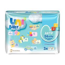 Uni Baby Aktif 52 Yaprak 3'lü Paket Islak Mendil