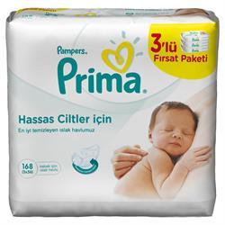 Prima Pampers Sensitive Hassas Cilt 3'lü Paket 168 Yaprak Islak Mendil
