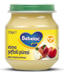 Bebelac Kavanoz Maması Elma Şeftali Püresi 125 G